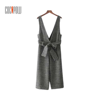 ZA Deep V Neck Bow Sashes Woolen Plaid Overalls Retro Thick Warm Autumn Wear Jumpsuit Lady