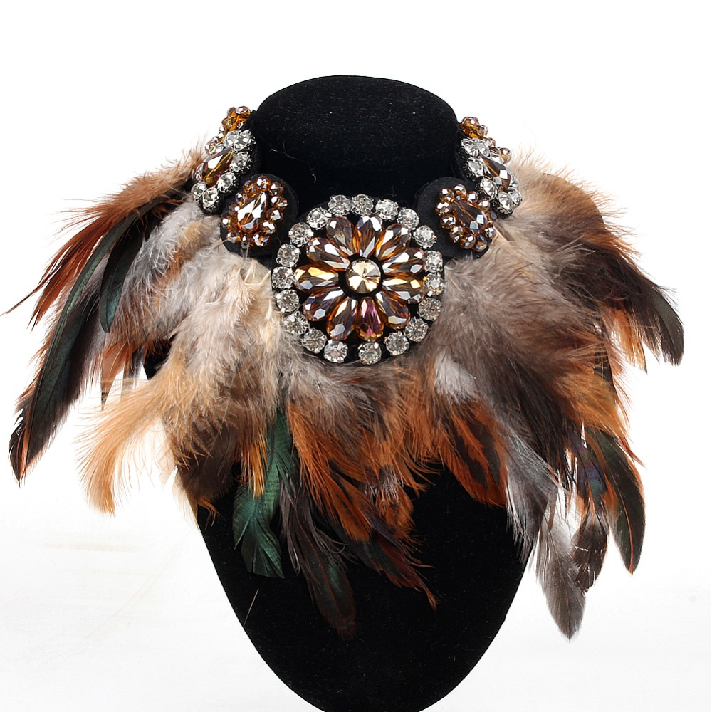 New Fashion Necklace Women Precious Crystal And Feather Necklaces & Pendant Soft Glam Peacock Feather Statement Necklaces peacock feather floor antislip bath mat