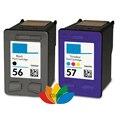 2x совместимые чернильные картриджи для hp 56 57 C6656A C6657A  заправленные для hp Officejet 1110 4105 4110 4215 4219 4255 5145