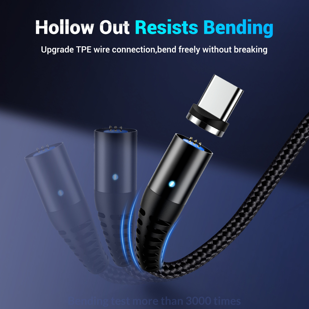 3A Magnetic Cable For iPhone X XR Micro USB Lighting Cable Fast Charging Charger USB Type C Cable For Samsung S10 Huawei Cables in Mobile Phone Chargers from Cellphones Telecommunications