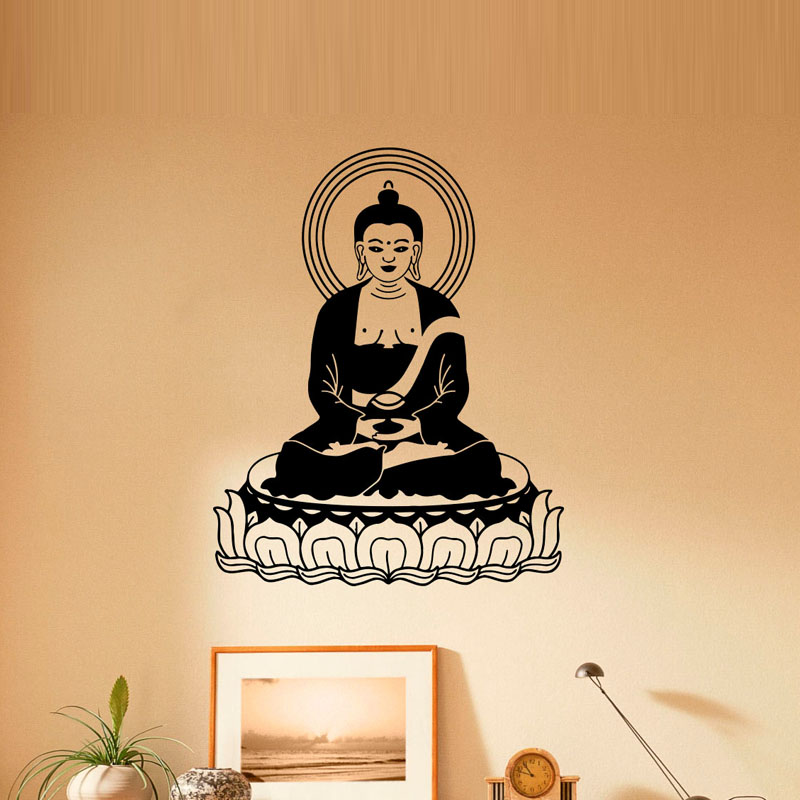 PENG LH DCTOP Buddha Vinyl Wall Stickers Lotus Flower Indian Design Living Room Decoration Removable Wall Decal Sticker