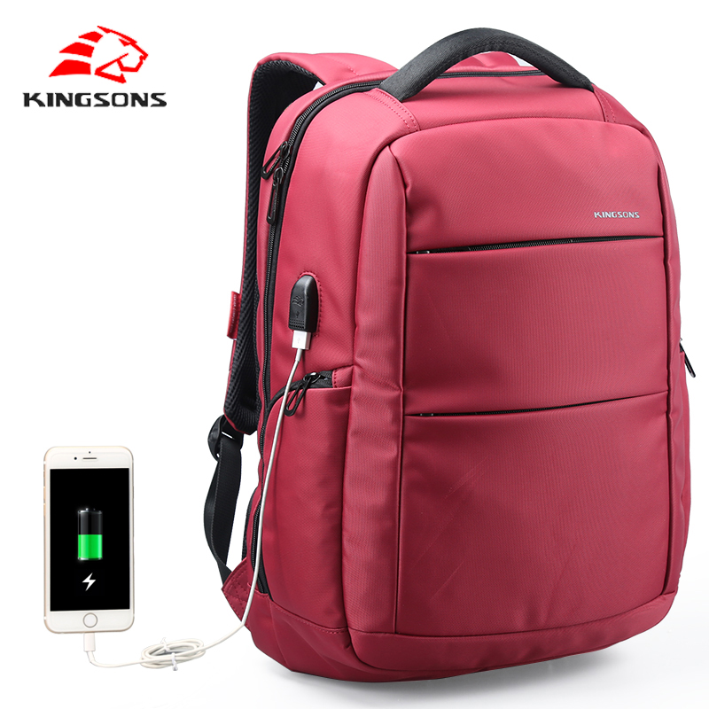 Kingsons 15.6 inch women Laptop Backpack for teenagers Men backpack female Travel Bag External Charging USB School Bags backpack 14 15 15 6 inch flax linen laptop notebook backpack bags case school backpack for travel shopping climbing men women