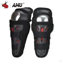 AMU Alloy Motorcycle Knee Pad Men Protective Gear Knee Gurad Protector Moto Knee Protector Motocross Joelheira Racing
