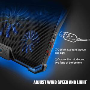 Image 3 - 14 17 inç notebook soğutucu dizüstü soğutma pedi laptop cooler fanı taban Para dizüstü Ventilador dizüstü soğutma standı beş güçlü fanlar