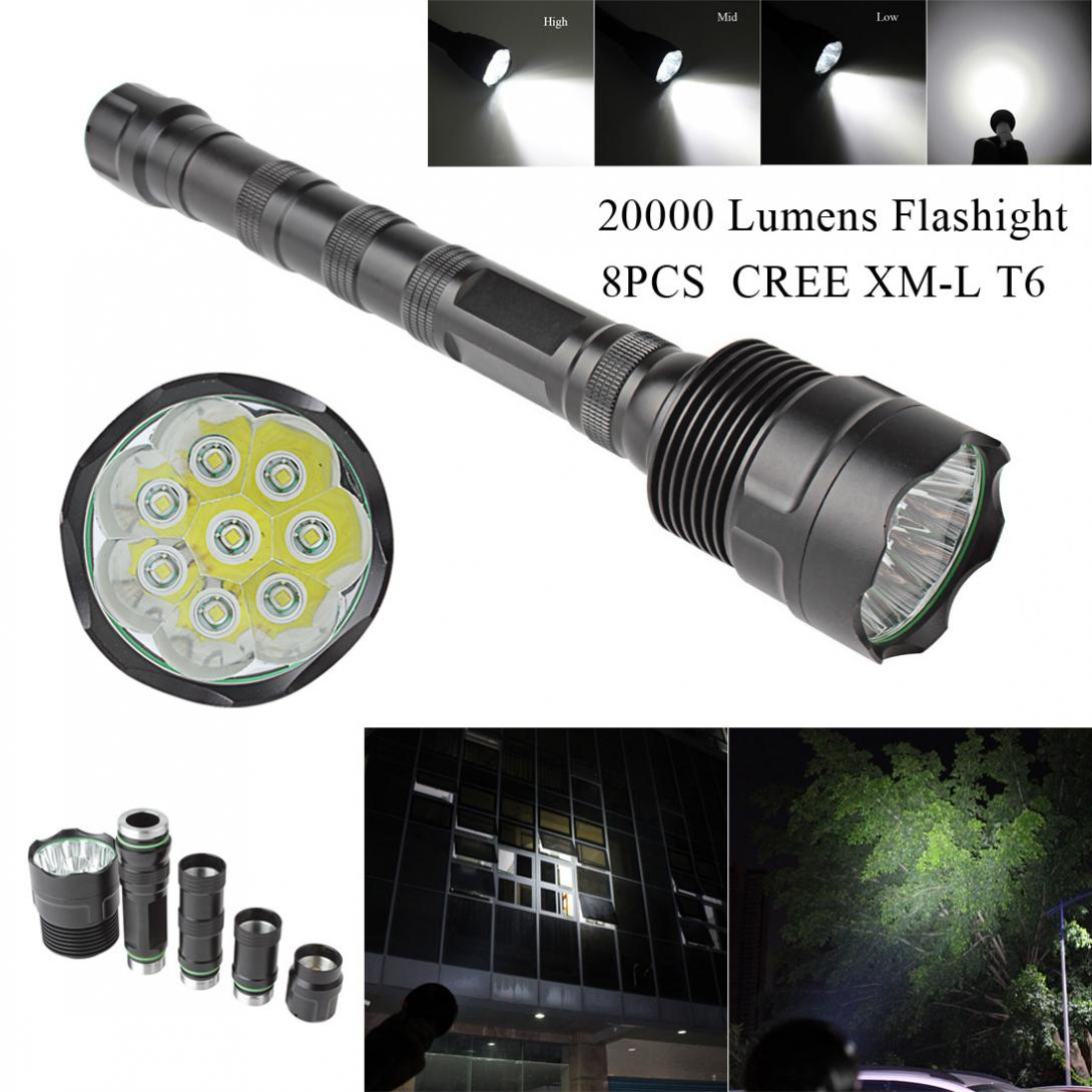 New Arrival 20000 Lumen Aluminum 8x XML T6 5 Mode Super Flashlight Torch Lamp Light mini portable xml t6 keychain led flashlight torch 3 mode 1600 lumen lighting lamp red zaklamp good quality