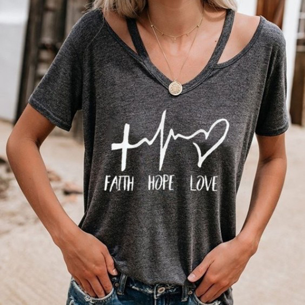 New Arrival Women Casual T shirt Love Printed T shirts Short Sleeve V neck Summer Tee in T Shirts from Women 39 s Clothing