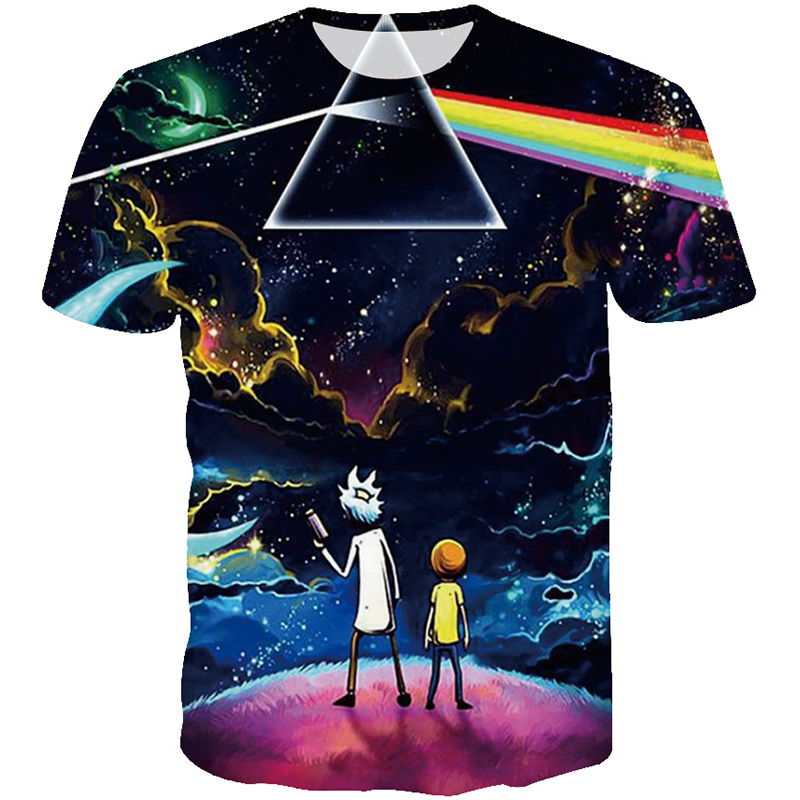 HipHop Men Anime Rick and Morty T shirt Galaxy Sky Prism Rainbow Printed 3d T-shirt Men Summer Fashion Casual Tshirt Drop Ship