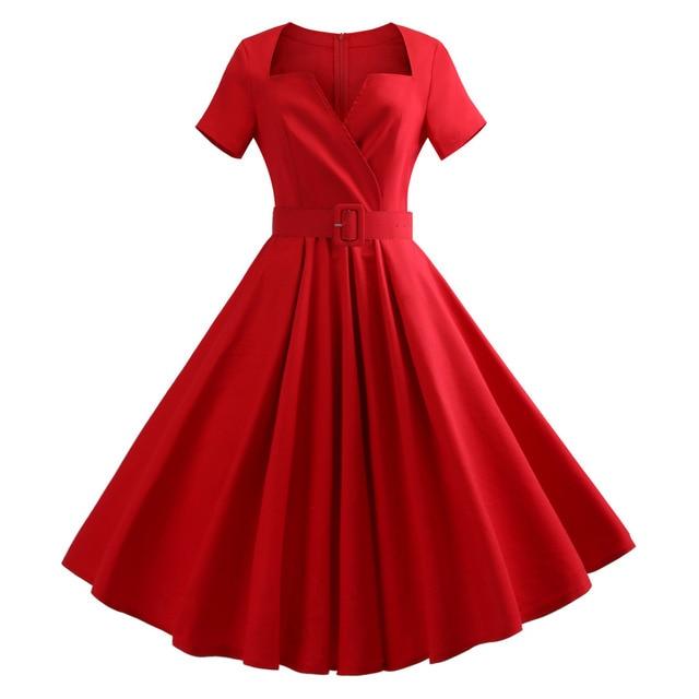 6b5aa067e 5XL Plus Size Vintage Dress Women Clothes Sexy V Neck Short Sleeve Retro  Party Dresses Hepburn 50s Casual Swing Dress Vestidos