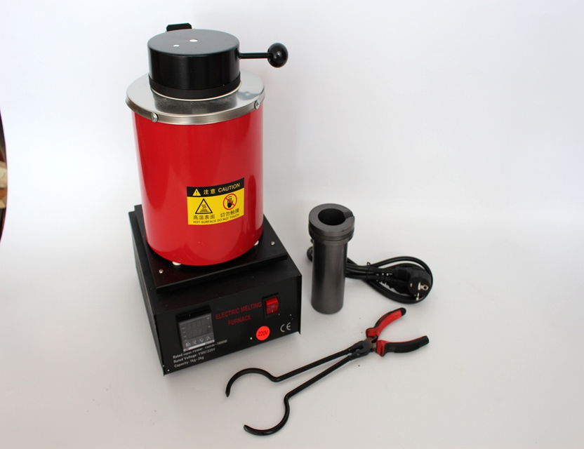 2kg 220V Red Digital Gold Melting Furnace Melting Furnace Machine Heating Casting Refining Furnace with Graphite Crucible