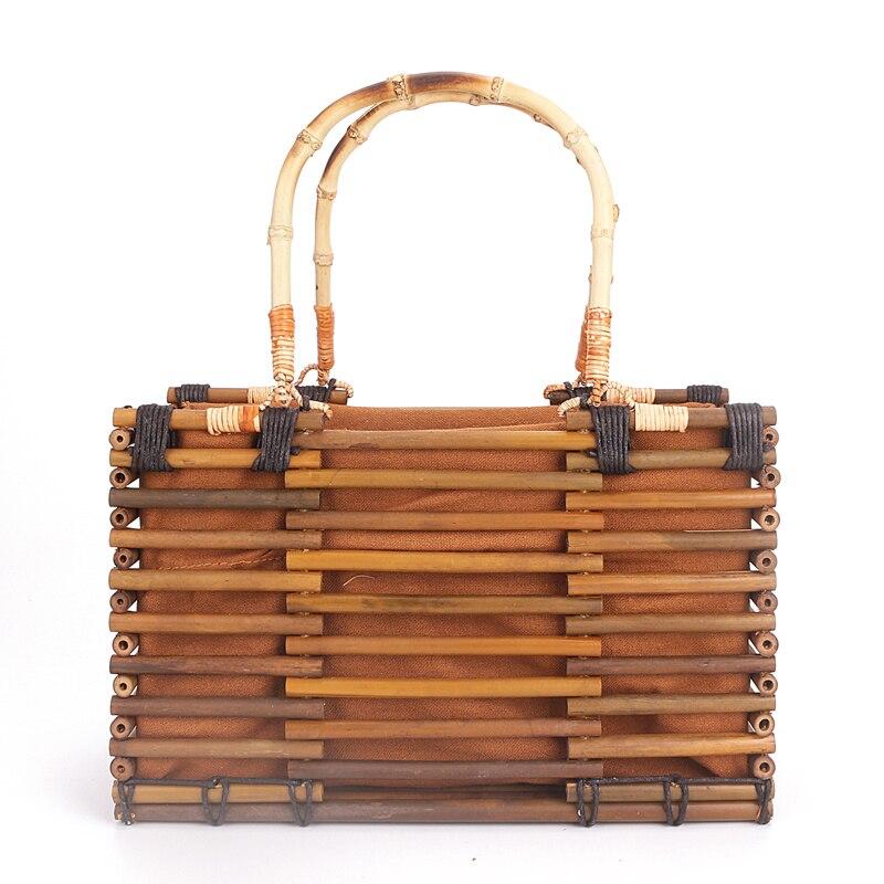 2017 Luxury Designer Beach Bags Small Fashion Bamboo Bag Women Travel Straw Tote Clutch Trunk Ladies Hand Bag Handbags все цены