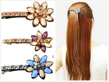 Buena New Products forehead jewelry hair clip for Women Bright Crystal flowers Clip Hair Accessorios para Cabelo hairpin LS3013