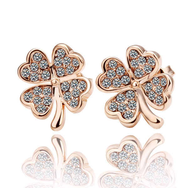 Top Quality Rose Gold Color Four Leaf Clover Stud Earrings for Women Fashion Jewelry Pendientes Brincos Factory Price