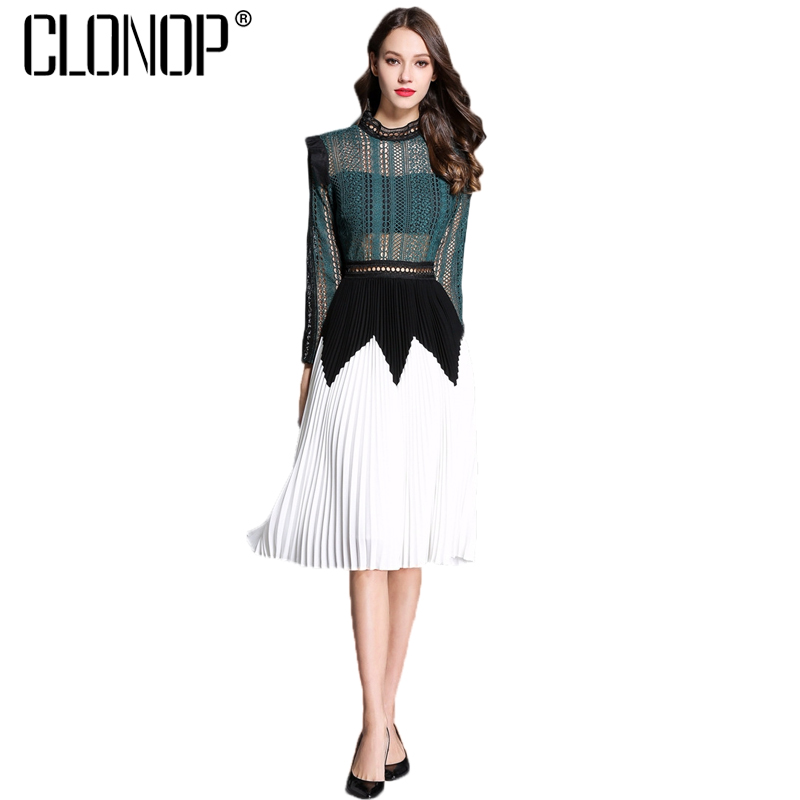 Clonop Sexy Summer Women Dress 2018 Long Sleeve Pleated Dresses Hollow Out Green Elegant Vestidos Casual Femme Party Dress