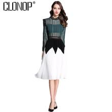 Clonop пикантные летние женское платье 2018 с длинным рукавом Плиссированные Платья выдалбливают зеленый Элегантный Vestidos Повседневное Femme вечерние платье