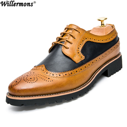 Spring & Autumn Men's Fashion Brogue Genuine Cow Leather Shoes Men Office Dress Driving Oxfords Shoes Zapatos Hombre