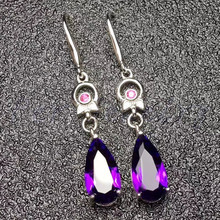 Серьги с аметистом в виде капли настоящий натуральный аметист Серебро 925 пробы фиолетовые камни 2.8ct* 2 шт драгоценный камень# ML18051403