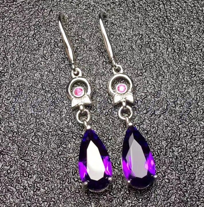 Real Amethyst Gemstone Drop Earring