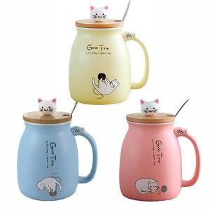 Desenho animado de cor com tampa, alta qualidade, gato sésame, resistente ao calor, com tampa, gatinho, leite, café, cerâmica, xícara, talheres presente do escritório