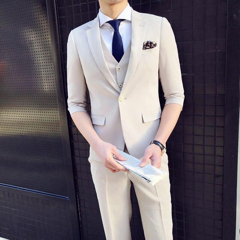 2018 весна и новые летние Костюм Джентльмена Для Мужчин's Бизнес Повседневное модные темпера Для мужчин t Британский Стиль Профессиональный п