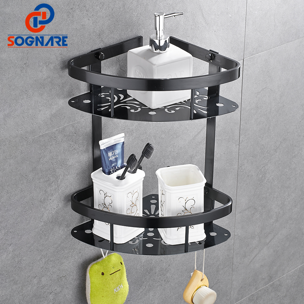 SOGNARE Corner Basket Bathroom Products Luxury Cosmetic Storage Bathroom Shelf Holder Bathroom Accessories Black,Golden D1112-2 fixtures bathroom accessories 5231 solid brass chrome shower basket shelf tidy rack caddy storage holders