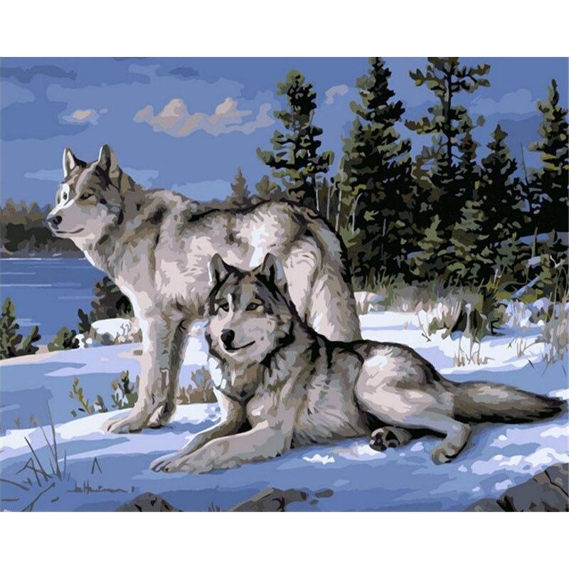 Sin marco Lobo animales DIY pintura por números Kits pintura sobre lienzo acrílico pintura por números para decoración de la pared del hogar