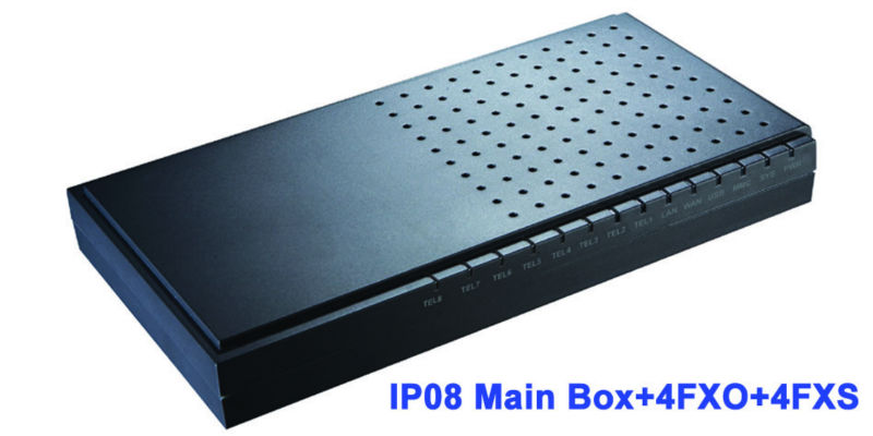 IP08 with 4O4S analog SIP IAX2 Asterisk PBX Small IP PBX with Modules for 4 FXS 4 FXO ports Supports 1~ 8 FXO or FXS ports
