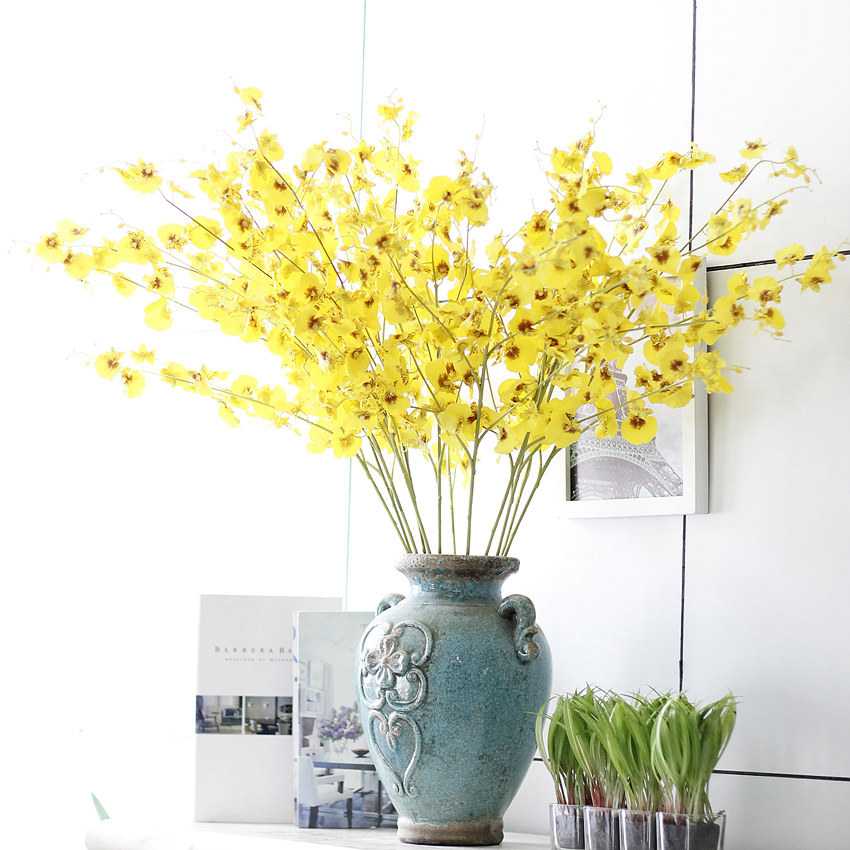 5 branches artificial oncidium orchid real touch flower for Artificial flowers decoration home