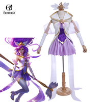 Rolecos Brand Game LOL Cospaly Costumes Star Guardian Magical Girl Janna Cosplay Costumes Janna Purple Dress