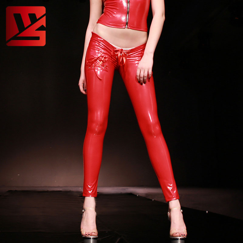 Sexy Women PVC Shiny Lace Up Low Rise Pencil   Pants   Casual   Pants   Leggings   Capris   Moto & Biker Stage Wear Trouser Plus Size F120