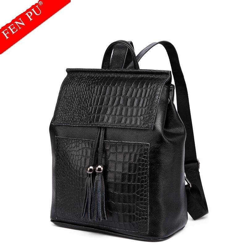 Famous Brand Backpack Cowhide Women Backpacks Solid Vintage Girls School Bags for Girls Black Genuine Leather Women Backpack