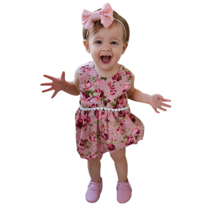 Newborn Infant Baby Girls Summer Floral Romper Cotton Jumpsuit Clothes Outfits