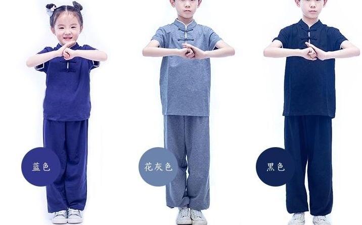 unisex summer kids boys girls Kung fu martial arts uniforms children wushu suits tai chi clothing