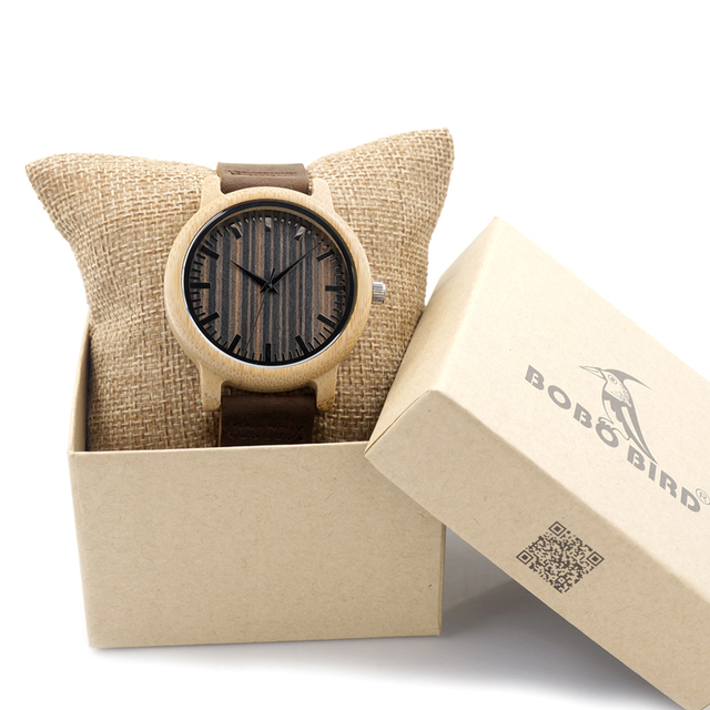 Vogue Mens Bamboo Watches Wooden Dial Leather Quartz Wristwatch in Gift Box Relojes Hombre 2016