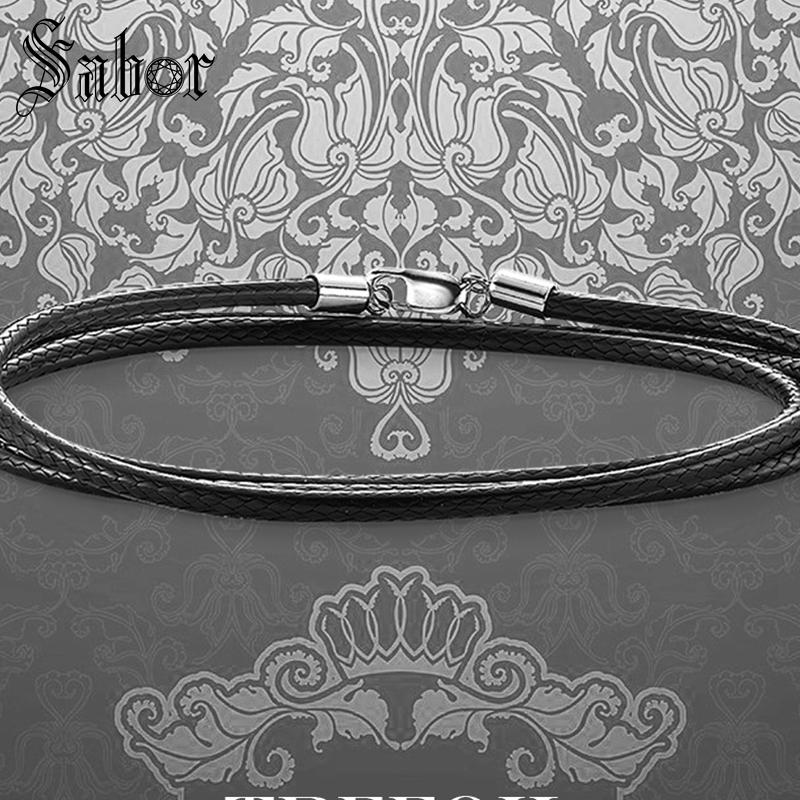 Black Cord Leather Necklace,Good Fashion Jewelry Gift 925 Sterling Silver Jewelry For Men Women Boys Girls 2019 New thomas