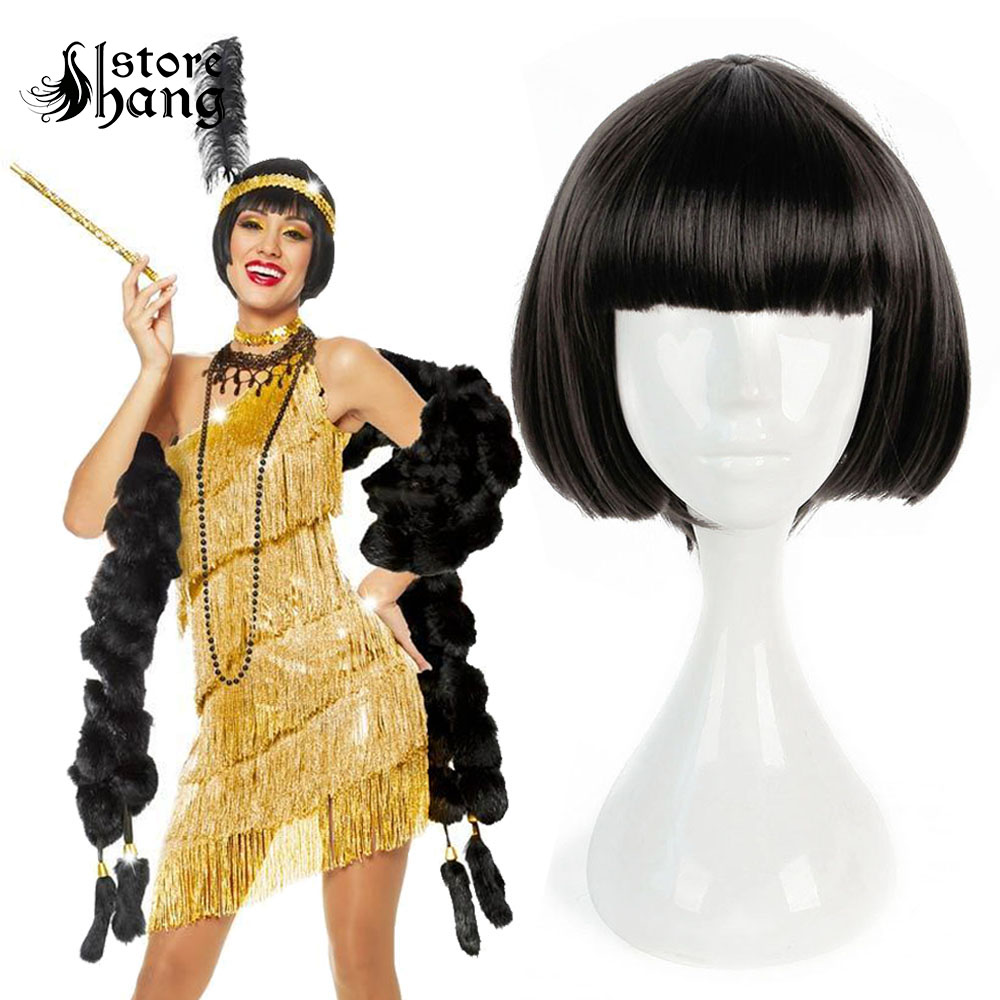 20s Flapper Perruque Filrty Girl Short Bob Heat Resistant Fiber Straight Hair Women's Party Accessories Costume Accessories
