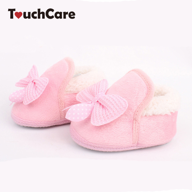 Clearance Butterfly Knot Winter Warm Baby Shoes Soft Bottom Non Slip