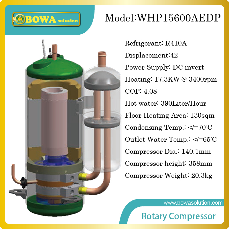 17KW DC invert compressor for heat pump water heater produces 390L/H hot water or for 130sqm floor heating of apartment 3phase 10hp r407c compressor 36 8kw heating capacity specially designed for hotel and resturant water heater