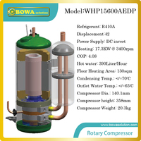 17KW DC invert compressor for heat pump water heater produces 390L/H hot water or for 130sqm floor heating of apartment