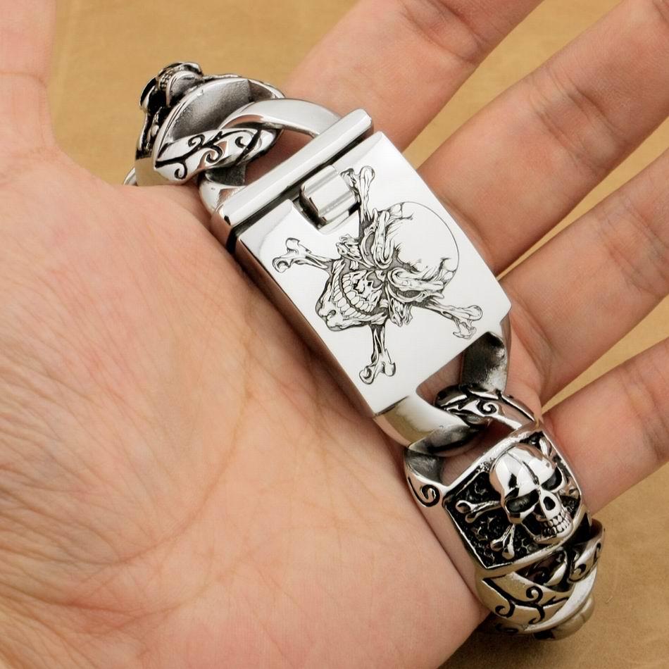 LINSION énorme lourd en acier inoxydable 316L Laser profond gravé Pirate crâne hommes garçons motard Rock Punk Bracelet 5T102 - 3
