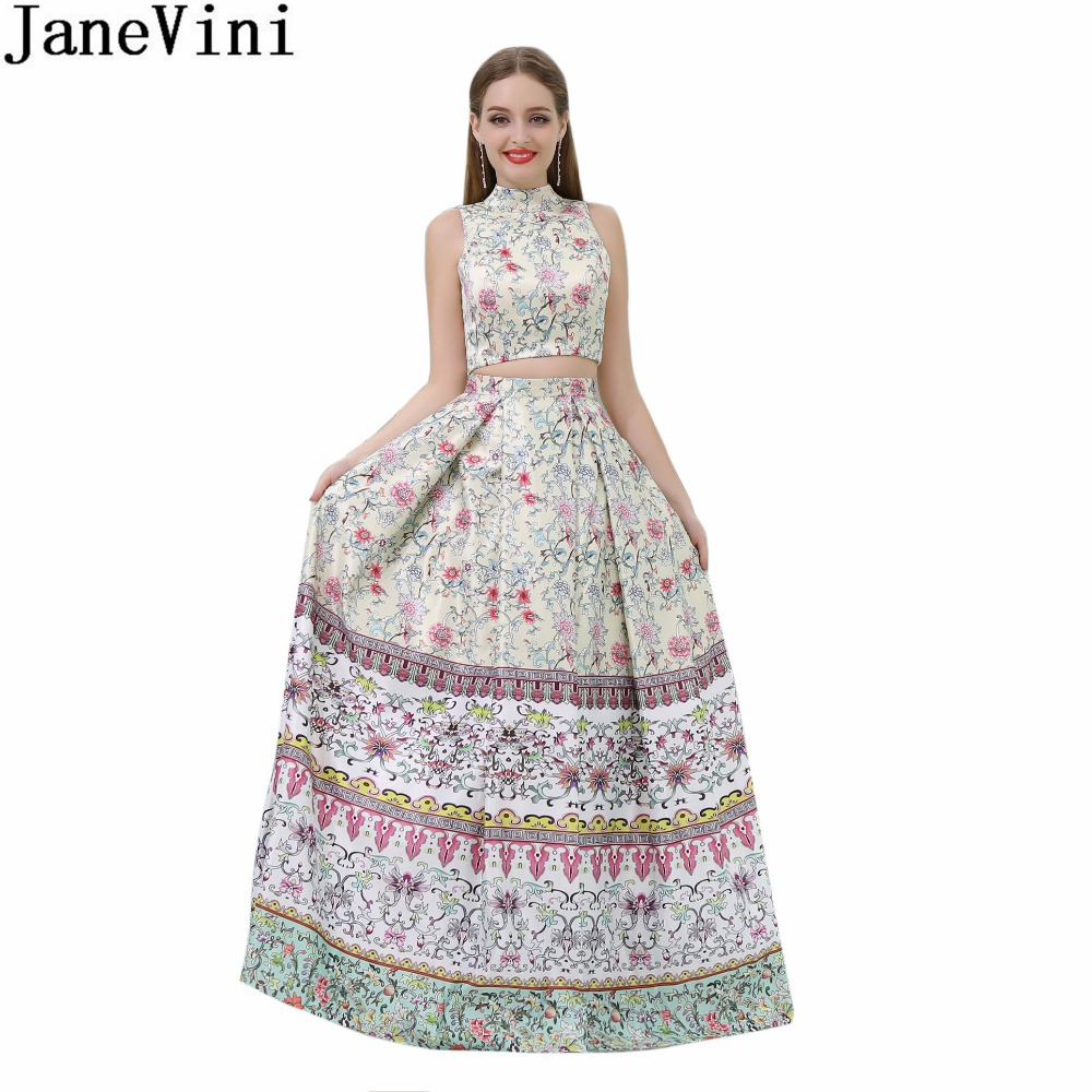 JaneVini Vintage Floral Print Girls Prom   Dress   With Pockets 2 Pieces Arabic Women   Bridesmaid     Dresses   Long Wedding Party   Dress