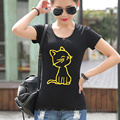 Cat Print T-Shirt Women 2017 Summer Short Sleeve Slim Tshirts Cotton Ladies Dresses For Girls Kawaii Design T Shirt Mujer Blazer