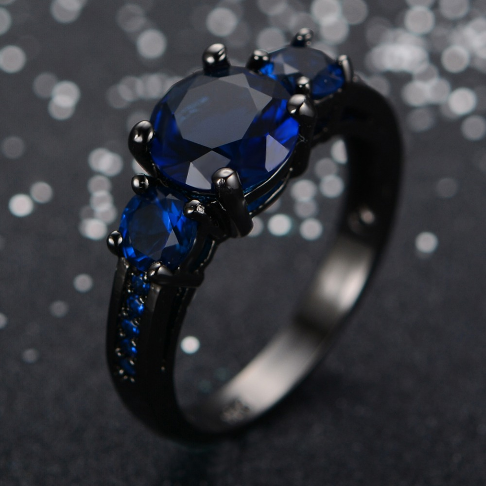 Top Quality Black Gold Filled Jewelry New Fashion Blue Engagement