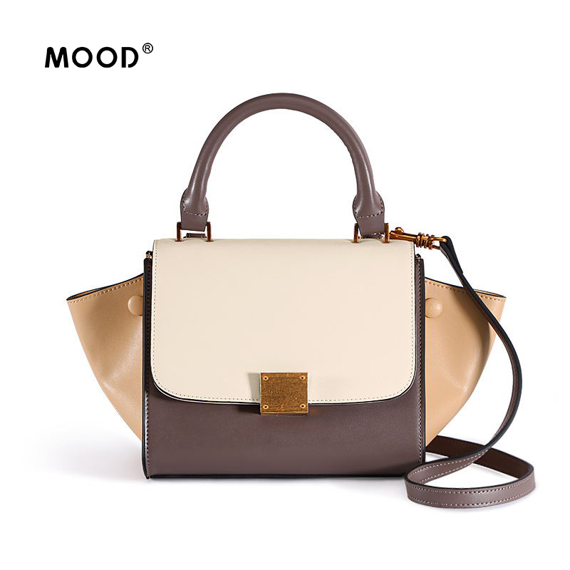 MOOD Cowhide handbag with color splicing wings retro style single shoulder cross rivets package Quality assurance Free shipping free shipping 2pcs lot up6182ag up6182 qfn package laptop chips 100% new original quality assurance