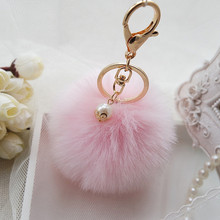 Feida llaveros кролика мех кулон небольшой плюшевые мяч брелок автомобиль сумка