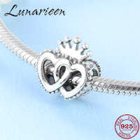Hot 925 Sterling Silver Exquisite Crown Heart Shaped DIY Accessories Beads Fit Original Pandora Charm Bracelet Jewelry making