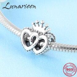Sıcak 925 Ayar Gümüş Zarif Taç Kalp Şekilli DIY Aksesuarları Boncuk Fit Orijinal Pandora Charm Bilezik Takı yapımı