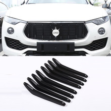 8pcs For Maserati Levante 2016 2017 2018 ABS Gloss Black and Carbon fiber Front Griller Trim Car Styling Accessories