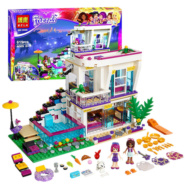619 Unids Bela 10498 Amigas Serie Livi de Pop Star House Building Blocks Andrea Juguete Compatible con Juguetes Amigos