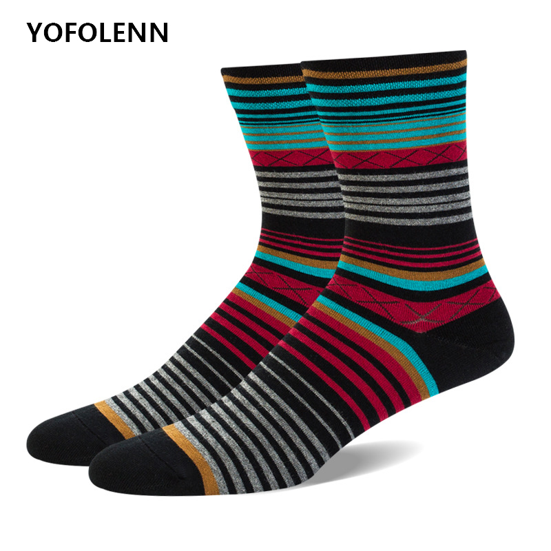 5 Pairs/lot Mens Casual Socks Combed Cotton High Quality Long Happy Funny Socks with Fine Stripe Design