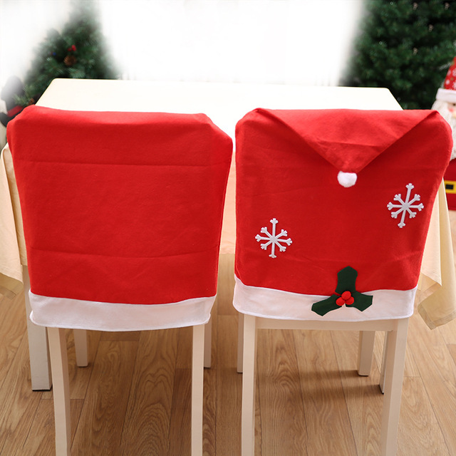 santa chair covers sets new revolving removable red hat christmas decorations dinner xmas cap folding hotel covering drop shipping